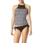 Arizona Chevron High-Neck Macramé Tankini Swim Top or Swim Bottoms - Juniors