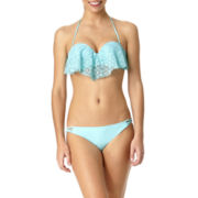 Arizona Crochet Flounce Bandeau Swim Top or Swim Bottoms - Juniors