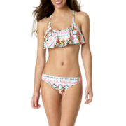 Arizona Geo Jazz Crochet Flounce Swim Top or Swim Bottoms - Juniors