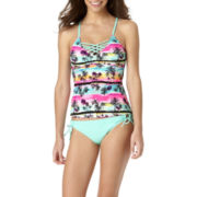Arizona Tropical High-Neck Macramé Tankini Swim Top or Swim Bottoms  - Juniors