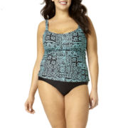 St. John's Bay® Geometric Print Tankini Swim Top or Swim Bottoms - Plus