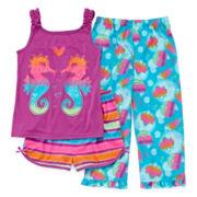 Seahorse 3-pc. Pajama Set - Girls 4-16