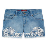 Arizona Crochet Denim Shortie Shorts - Girls 7-18
