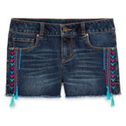 Arizona Frayed-Hem Denim Shorts - Girls 7-16