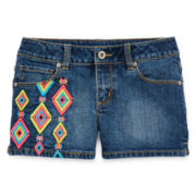 Arizona Diamond Embroidered Denim Shorts - Girls 7-16