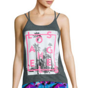 City Streets® Crossback Screen Tank Top