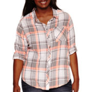 Arizona Long-Sleeve Plaid Shirt - Juniors Plus
