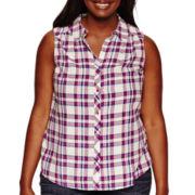 Arizona Sleeveless Plaid Shirt - Juniors Plus
