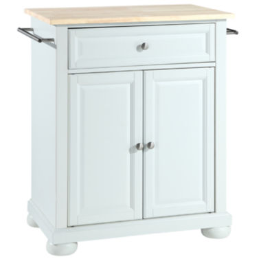 Kitchen Island Jcpenney caldwell small natural-wood-top portable kitchen island - jcpenney