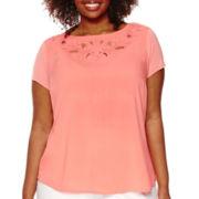 Liz Claiborne® Short-Sleeve Cut Out Tee - Plus