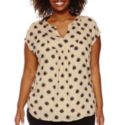 Liz Claiborne® Short-Sleeve Popover Top - Plus