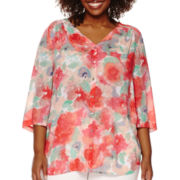 Liz Claiborne® 3/4-Sleeve Butterfly Back Shirt - Plus