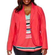 Liz Claiborne® Teaberry Cotton Blazer - Plus