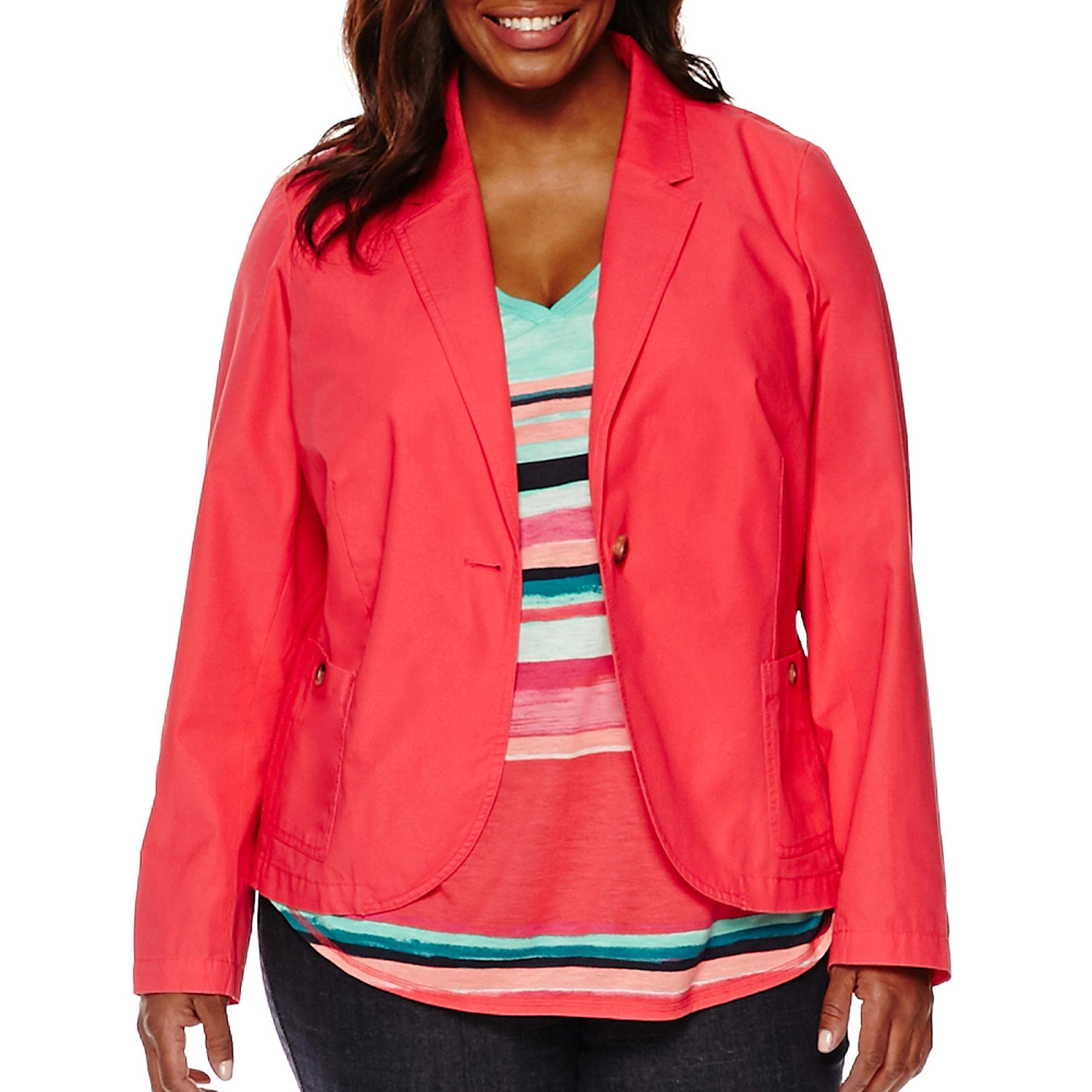 Liz Claiborne Teaberry Cotton Blazer - Plus plus size,  plus size fashion plus size appare