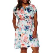 Liz Claiborne® Short-Sleeve Floral Caftan Dress - Plus