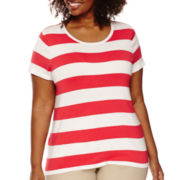 Liz Claiborne® Short-Sleeve Stripe Sweater - Plus