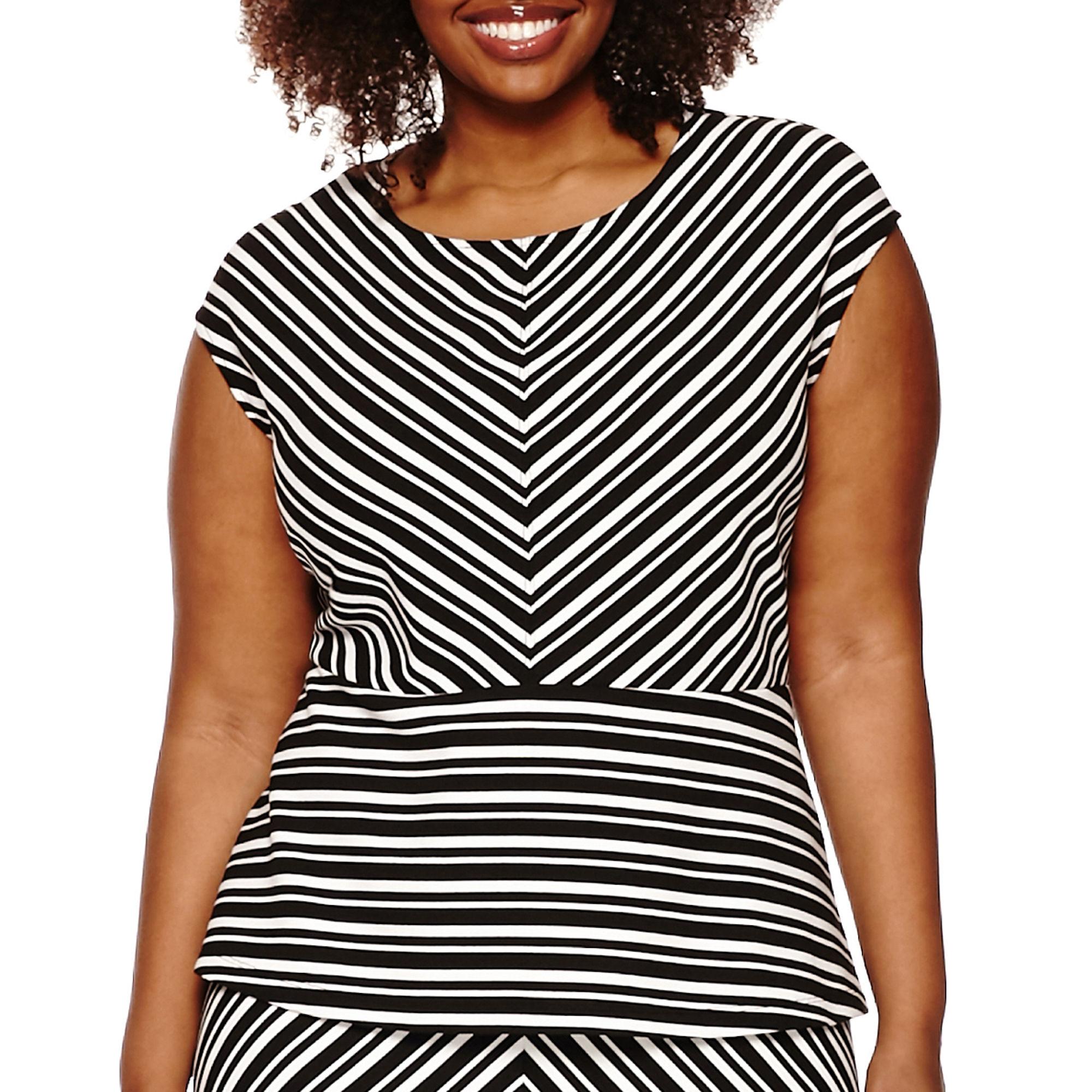 Liz Claiborne Sleeveless Peplum Pullover Shirt - Plus