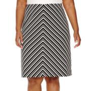 Liz Claiborne® Striped Ottoman A-Line Skirt - Plus