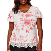 Liz Claiborne® Flutter-Sleeve Lace-Trim Top - Plus