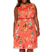 Liz Claiborne® Sleeveless Pleated Dress - Plus