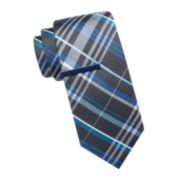 JF J. Ferrar® Rubino Colored Plaid Tie and Tie Bar Set - Slim