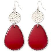 Red & Silvertone Teardrop Earrings