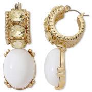 Monet® White Stone & Yellow Crystal Double-Drop Earrings