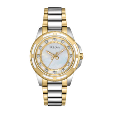 jcpenney.com | Bulova® Womens Mother-of-Pearl Dial Diamond Accent Watch 98P140