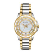Bulova Womens Mother-of-Pearl Dial Diamond Accent Watch