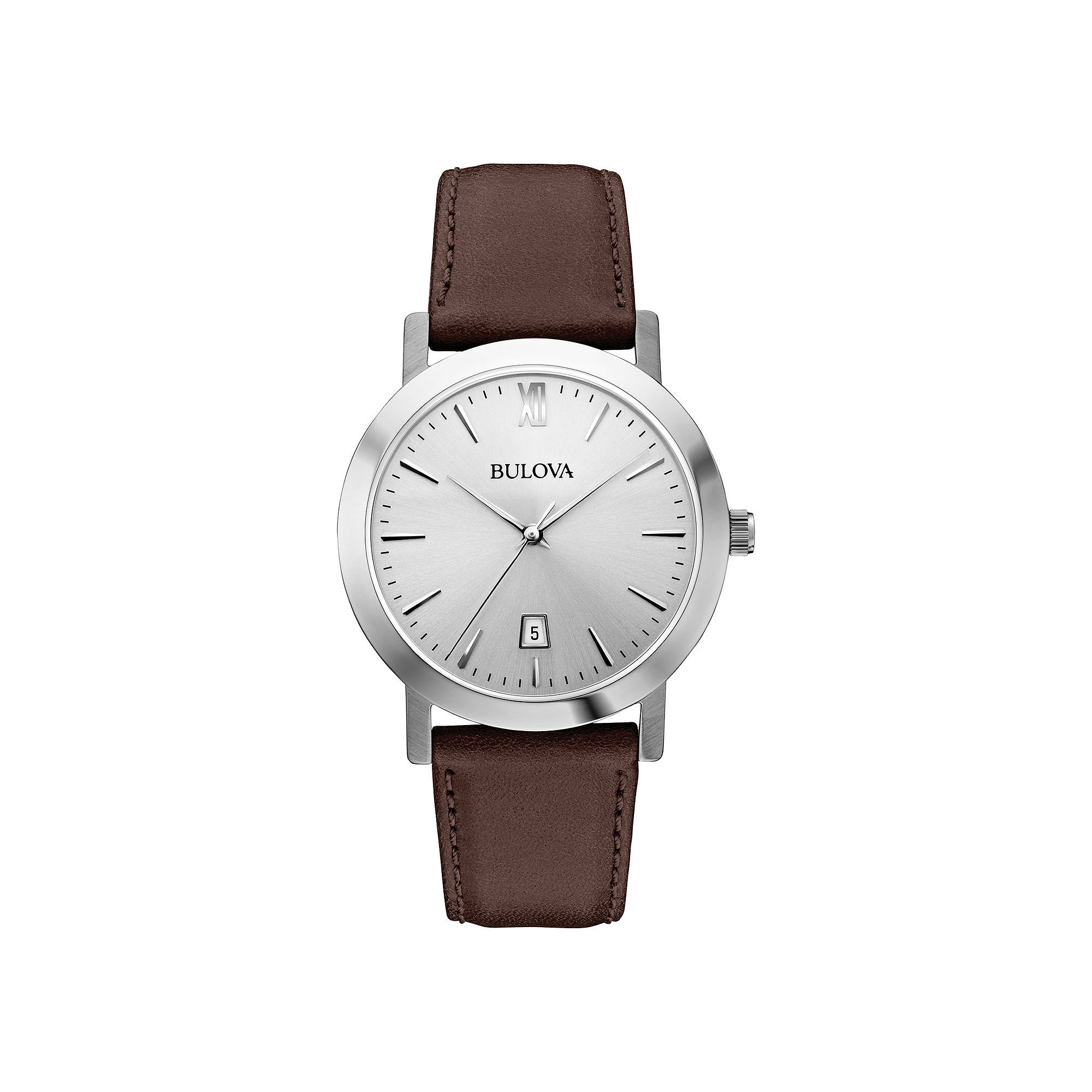 Bulova Mens Silver-Tone Round Leather Strap Watch 96B217