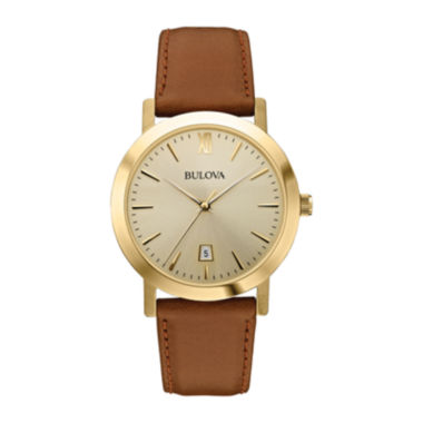 jcpenney.com | Bulova® Mens Gold-Tone Round Leather Strap Watch 97B135