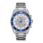 Bulova Mens Stainless Steel Bracelet Chronograph Watch