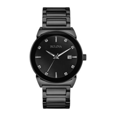 jcpenney.com | Bulova® Mens Black Ion Stainless Steel Diamond Accent Watch 98D121