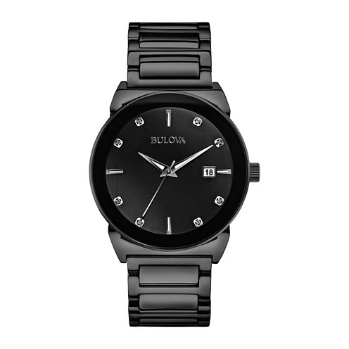 Bulova® Mens Black Ion Stainless Steel Diamond Accent Watch 98D121