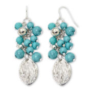 Mixit® Silver-Tone Aqua Cluster Drop Earrings