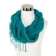 Soft Ruched Metallic Scarf