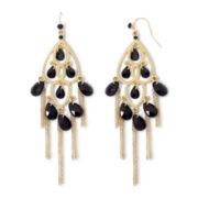 Mixit Black Bead & Chain Chandelier Earrings