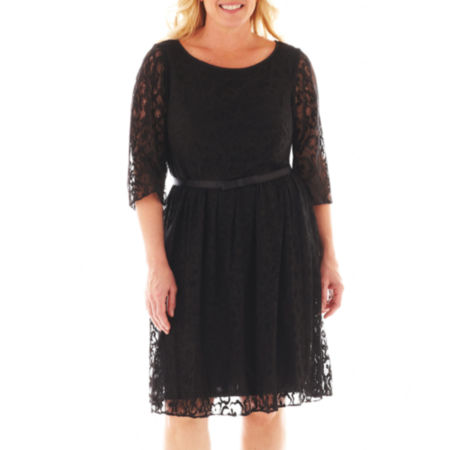 Dana Kay Long-Sleeve Belted Lace Dress - Plus