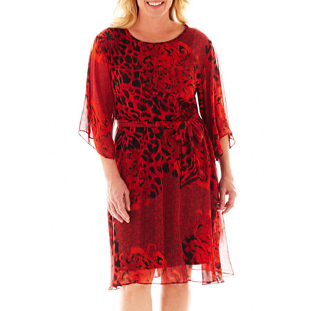 Dana Kay Long-Sleeve Animal Print Belted Dress - Plus