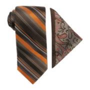 Steve Harvey® Striped Tie and Paisley Pocket Square Set