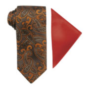 Steve Harvey® Paisley Tie and Solid Pocket Square Set