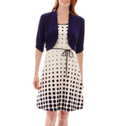 Studio 1® Polka Dot Fit-and-Flare Dress with Navy Jacket