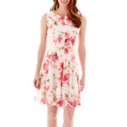 Studio 1® Sleeveless Floral Print Crochet Lace Fit-and-Flare Dress