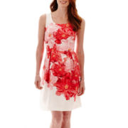 Studio 1® Sleeveless Floral Print Fit-and-Flare Dress