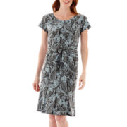 Perceptions Short-Sleeve Front-Buckle Paisley Dress