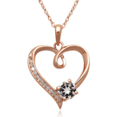 jcpenney.com | Genuine Morganite and Diamond-Accent 10K Rose Gold Heart Pendant Necklace