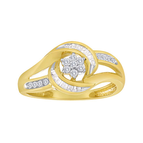 diamond blossom 1/4 CT. T.W. Diamond 10K Yellow Gold Swirl Cluster Ring