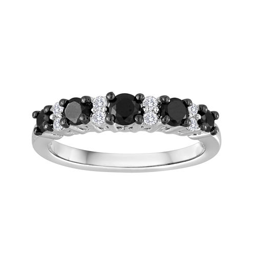 3/4 CT. T.W. White and Color-Enhanced Black Diamond Wedding Band