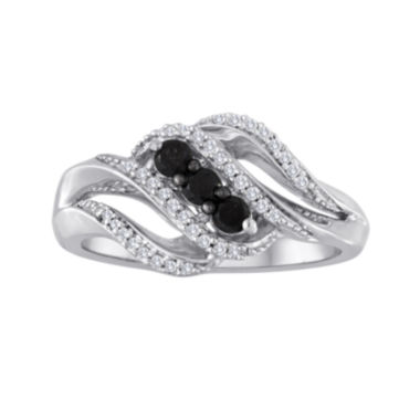 jcpenney.com | Midnight Black Diamond 1/3 CT. T.W. White and Color-Enhanced Black Diamond 3-Stone Crossover Ring