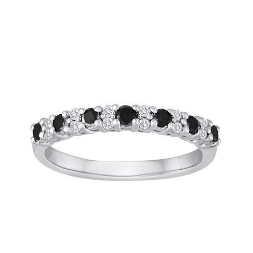 1/2 CT. T.W. White and Color-Enhanced Black Diamond Wedding Band